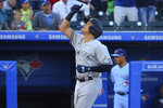 New york Yankees Gio Urshela celebrates his two-run home run during the third inning of the team's baseball game against the Toronto Blue Jays, Thursday, June 17, 2021, in Buffalo, N.Y. (AP Photo/Jeffrey T. Barnes)