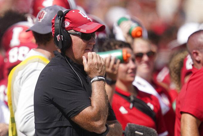 Indiana head coach Tom Allen watches during the second half of an NCAA college football game against Cincinnati, Saturday, Sept. 18, 2021, in Bloomington, Ind. Cincinnati won 38-24. (AP Photo/Darron Cummings)