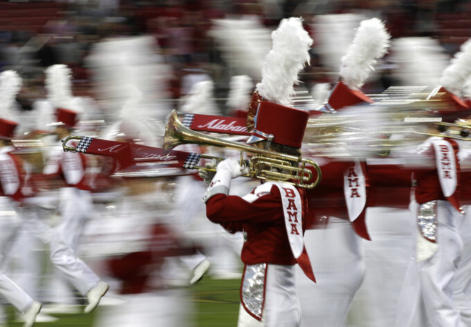 The Alabama band performs before the NCAA college football playoff championship game against Clemson, Monday, Jan. 7, 2019, in Santa Clara, Calif. (AP Photo/David J. Phillip)