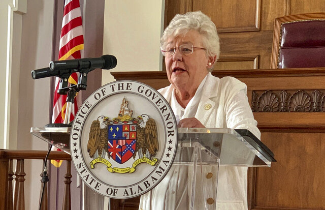FILE - In this July 29, 2020 file photo, Alabama Gov. Kay Ivey speaks during a news conference in Montgomery, Ala. Ivey announced plans Thursday, Sept. 3, 2020 to move forward with state leasing of three privately built mega prisons that would begin construction next year, in what she described as a step toward overhauling an understaffed and violence-plagued prison system beset by years of federal criticism. (AP Photo/Kim Chandler, File)