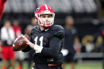 Georgia quarterback Jake Fromm (11) practices at the Superdome in New Orleans, Friday, Dec. 28, 2018. Georgia will face Texas in the Sugar Bowl NCAA college football game on Jan. 1, 2019. (AP Photo/Gerald Herbert)