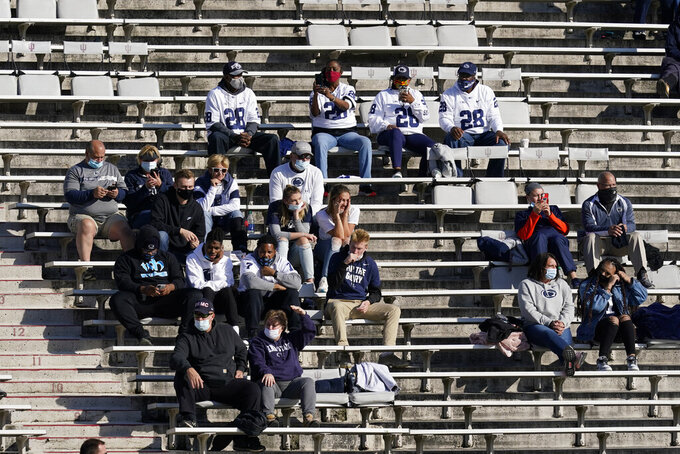Penn State fans watch during the first half of an NCCAA college football game against Indiana, Saturday, Oct. 24, 2020, in Bloomington, Ind. (AP Photo/Darron Cummings)