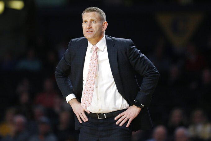 FILE - In this Jan. 22, 2020, file photo, Alabama head coach Nate Oats watches the action in the second half of an NCAA college basketball game against Vanderbilt in Nashville, Tenn. Oats is coach of the year in the SEC in voting announced Tuesday, March 9, 2021. (AP Photo/Mark Humphrey, File)