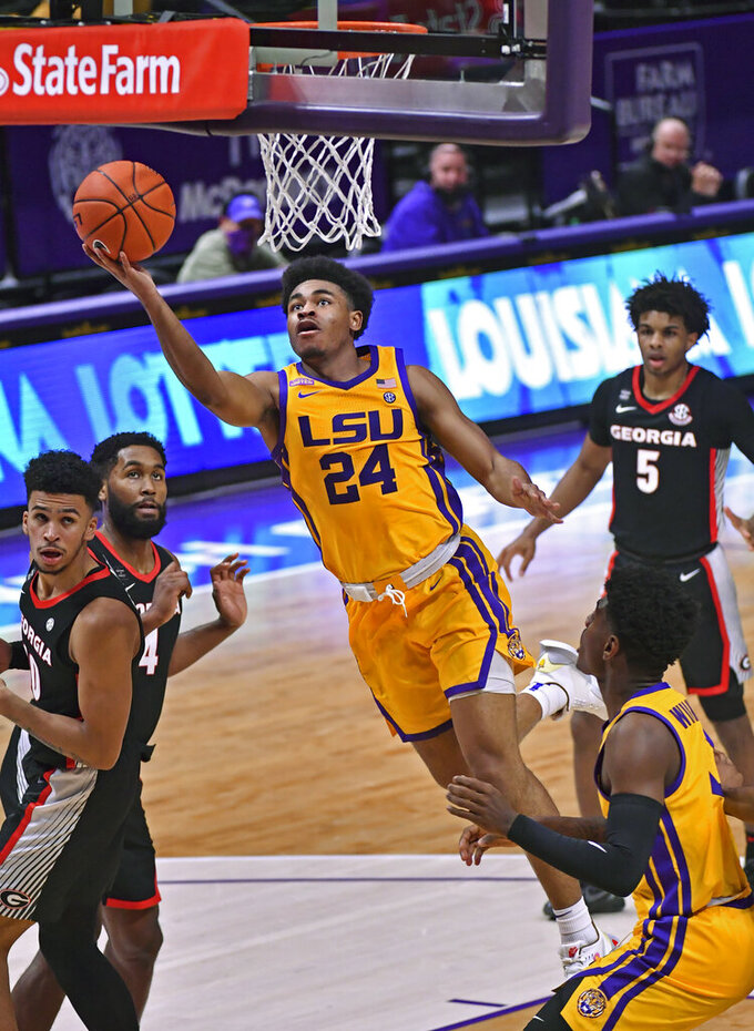 LSU guard Cameron Thomas (24) gets the layup against Georgia during the first half of an NCAA college basketball game Wednesday, Jan. 6, 2021, in Baton Rouge, La. (Hilary Scheinuk/The Advocate via AP)
