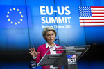 European Commission President Ursula von der Leyen talks during a media conference with European Council President Charles Michel at the end of the EU-US summit at the European Council building in Brussels, Tuesday, June 15, 2021. (AP Photo/Francisco Seco)
