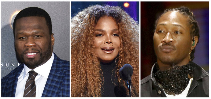This combination photo shows, from left, rapper 50 Cent, singer Janet Jackson and rapper Future who have been added to the lineup for the Jeddah World Fest, the concert in Saudi Arabia. Nicki Minaj pulled out of the concert after human rights organizations urged her to cancel her appearance. (AP Photo)