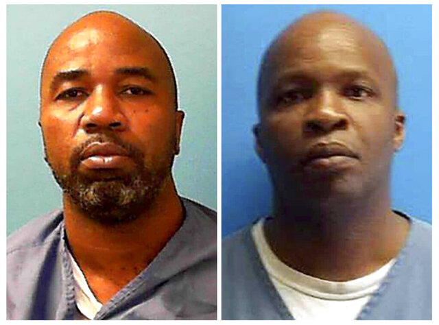 These undated photo made available by the Florida Department of Corrections, show Ronnie Hill, left, and Lamar Alexander, two robbery suspects who were killed in a shootout with police, Thursday, Dec. 4, 2019, after they stole a UPS driver's truck and led police on a chase that ended in gunfire at a busy South Florida intersection. UPS driver Frank Ordonez and another motorist who was waiting at a busy intersection were also killed.  ( Florida Department of Corrections via AP)