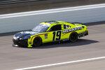 Brandon Jones (19) drives during a NASCAR Xfinity Series auto race at Kansas Speedway in Kansas City, Kan., Saturday, July 25, 2020. (AP Photo/Charlie Riedel)