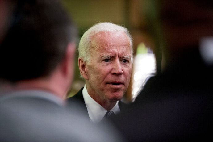 Former Vice President Joe Biden greets members of the audience after speaking to the International Association of Firefighters at the Hyatt Regency on Capitol Hill in Washington, Tuesday, March 12, 2019, amid growing expectations he'll soon announce he's running for president. (AP Photo/Andrew Harnik)