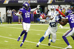 Minnesota Vikings wide receiver Ihmir Smith-Marsette (15) runs from Indianapolis Colts linebacker Curtis Bolton (42) while returning a kickoff during the second half of an NFL football game, Saturday, Aug. 21, 2021, in Minneapolis. (AP Photo/Jim Mone)