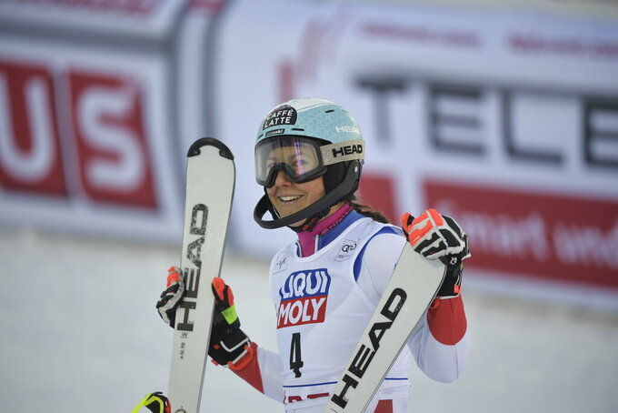 Wendy Holdener of Switzerland reacts after crossing the finish line in the second run of the women's slalom race of the FIS Ski Alpine World Cup in Are, Sweden, Friday, March 12, 2021. (Pontus Lundahl/TT News Agency via AP)