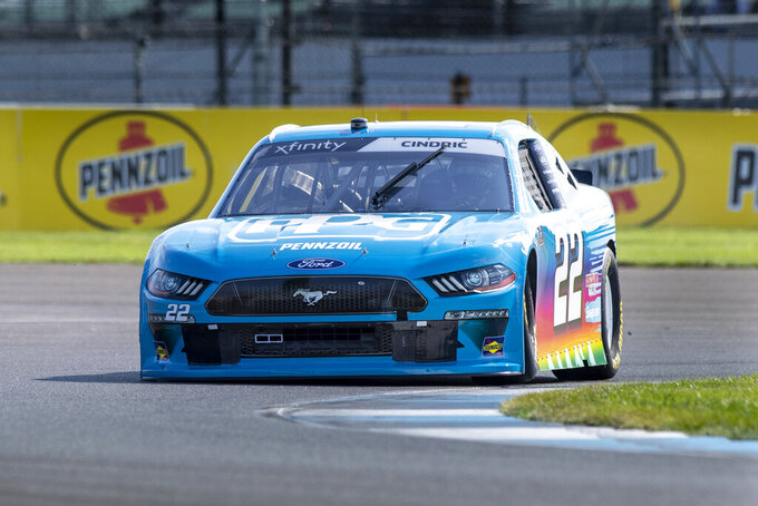 Austin Cindric (22) during practice for the NASCAR Xfinity Series auto race at Indianapolis Motor Speedway, Friday, Aug. 13, 2021, in Indianapolis. (AP Photo/Doug McSchooler)