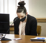 Defendant Bailey Boswell reacts after the jury found her guilty in the murder of Sydney Loofe, of Lincoln, Wednesday, Oct. 14, 2020, at the Dawson County Courthouse in Lexington, Neb. (Francis Gardler/Lincoln Journal Star via AP)