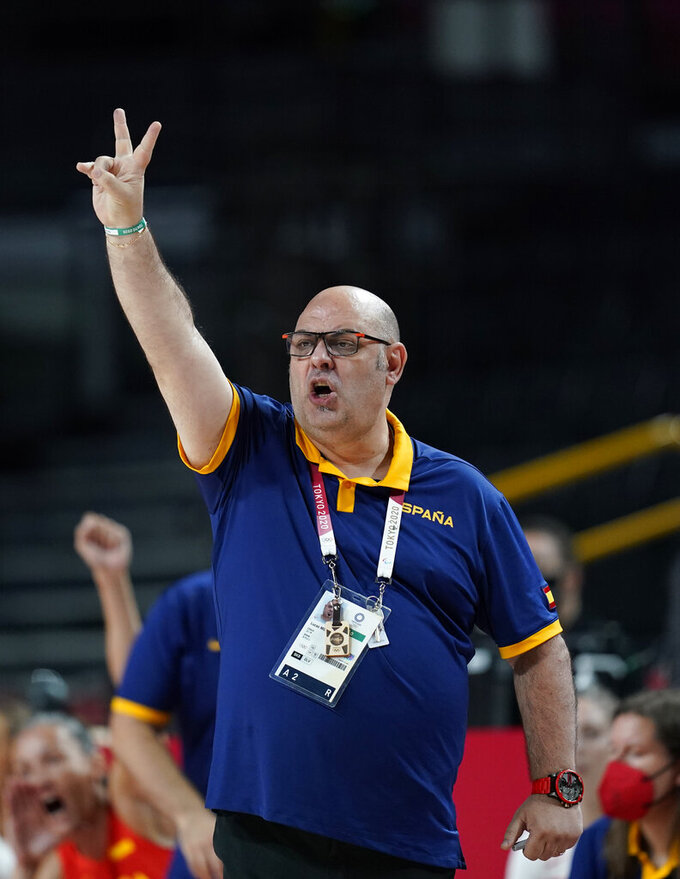 Spain's head coach Lucas Mondelo reacts during women's basketball preliminary round game between Canada and Spain at the 2020 Summer Olympics, Sunday, Aug. 1, 2021, in Saitama, Japan. (AP Photo/Charlie Neibergall)