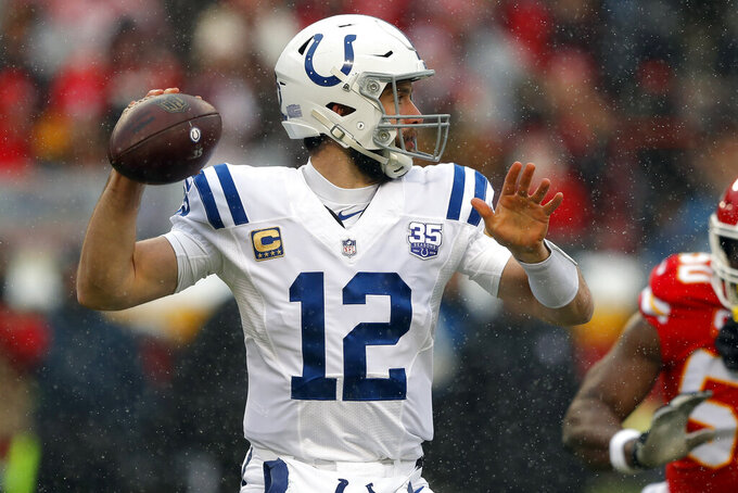 Indianapolis Colts quarterback Andrew Luck (12) throws a pass during the first half of an NFL divisional football playoff game against the Kansas City Chiefs in Kansas City, Mo., Saturday, Jan. 12, 2019. (AP Photo/Charlie Neibergall)