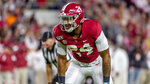 Alabama linebacker Terrell Lewis (24) during the first half of an NCAA college football game against Tennessee, Saturday, Oct. 19, 2019, in Tuscaloosa, Ala. (AP Photo/Vasha Hunt)
