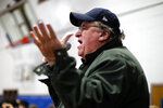 Filmmaker Michael Moore speaks to the overflow crowd before a rally for Democratic presidential candidate Sen. Bernie Sanders, I-Vt., at the Ames City Auditorium in Ames, Iowa, Jan. 25, 2020. (AP Photo/Gene J. Puskar)
