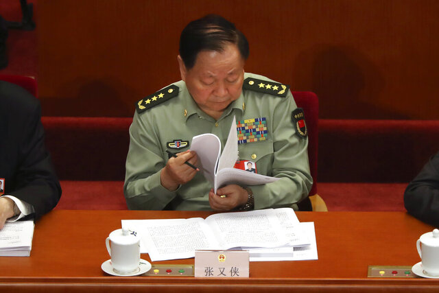 Zhang Youxia, vice chairman of China's Central Military Commission, attends the opening session of China's National People's Congress (NPC) at the Great Hall of the People in Beijing, Friday, May 22, 2020. (AP Photo/Ng Han Guan, Pool)