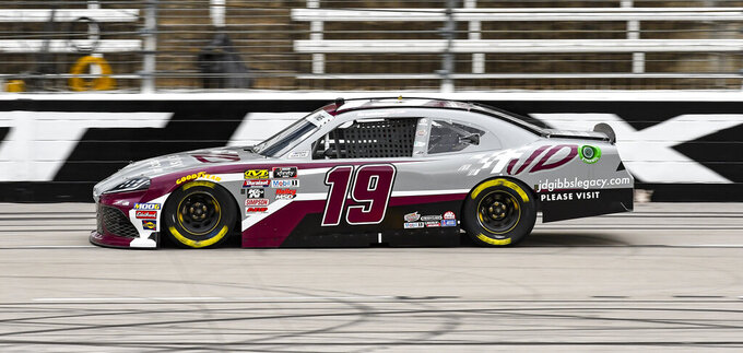 Driver Brandon Jones races down the front stretch during qualifying for a NASCAR auto race at Texas Motor Speedway, Saturday, March 30, 2019, in Fort Worth, Texas. (AP Photo/Larry Papke)