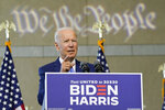 Democratic presidential candidate and former Vice President Joe Biden gestures while speaking at the Constitution Center in Philadelphia, Sunday, Sept. 20, 2020, about the Supreme Court. (AP Photo/Carolyn Kaster)