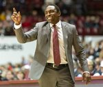 Alabama head coach Avery Johnson signals to his team against Mississippi State during the first half of an NCAA college basketball game, Tuesday, Jan. 29, 2019, in Tuscaloosa, Ala. (AP Photo/Vasha Hunt)