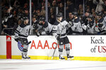 Los Angeles Kings' Nikolai Prokhorkin, right front, celebrates with teammates after scoring against the Winnipeg Jets during the first period of an NHL hockey game Saturday, Nov. 30, 2019, in Los Angeles. (AP Photo/Marcio Jose Sanchez)