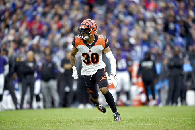 Cincinnati Bengals free safety Jessie Bates runs while defending against the Baltimore Ravens during the second half of a NFL football game Sunday, Oct. 13, 2019, in Baltimore. (AP Photo/Gail Burton)