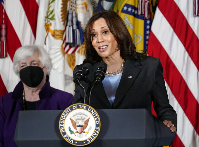 """FILE - Vice President Kamala Harris, right, speaks as Treasury Secretary Janet Yellen listens during an event at the Treasury Department in Washington on Sept. 15, 2021. Harris will appear on the daytime talk series """"The View"""" on Friday. (AP Photo/Susan Walsh, File)"""