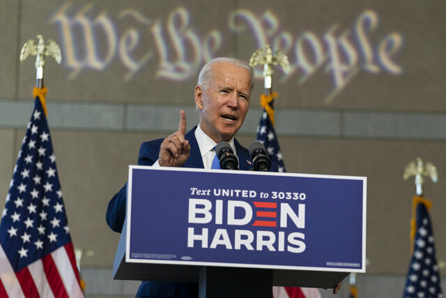 Democratic presidential candidate and former Vice President Joe Biden speaks at the Constitution Center in Philadelphia, Sunday, Sept. 20, 2020, about the Supreme Court. (AP Photo/Carolyn Kaster)