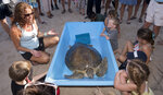 In this photo provided by the Florida Keys News Bureau, Bette Zirkelbach, left, manager of the Florida Keys-based Turtle Hospital, provides youngsters marine resources education about
