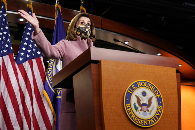 House Speaker Nancy Pelosi of Calif., speaks during a news conference on Capitol Hill in Washington, Thursday, Jan. 21, 2021. (AP Photo/Susan Walsh)