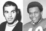 "FILE - From left are 1970 file photos showing Brian Piccolo and Gale Sayers. Hall of Famer Gale Sayers, who made his mark as one of the NFL's best all-purpose running backs and was later celebrated for his enduring friendship with Chicago Bears teammate Brian Piccolo, has died. He was 77. Nicknamed ""The Kansas Comet"" and considered among the best open-field runners the game has ever seen, Sayers died Wednesday, Sept. 23, 2020, according to the Pro Football Hall of Fame. (AP Photo/File)"