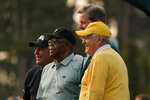 From left, Gary Player, Lee Elder, Fred Ridley, chairman of Augusta National Golf Club and the Masters Tournament and Jack Nicklaus pose after the ceremonial first tees during the first round of the Masters golf tournament on Thursday, April 8, 2021, in Augusta, Ga. (AP Photo/Gregory Bull)