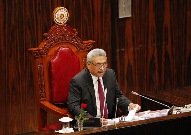 Sri Lankan president Gotabaya Rajapaksa addresses the parliament during the ceremonial inauguration of the session in Colombo, Sri Lanka, Friday, Jan. 3, 2020. (AP Photo/Eranga Jayawardena)