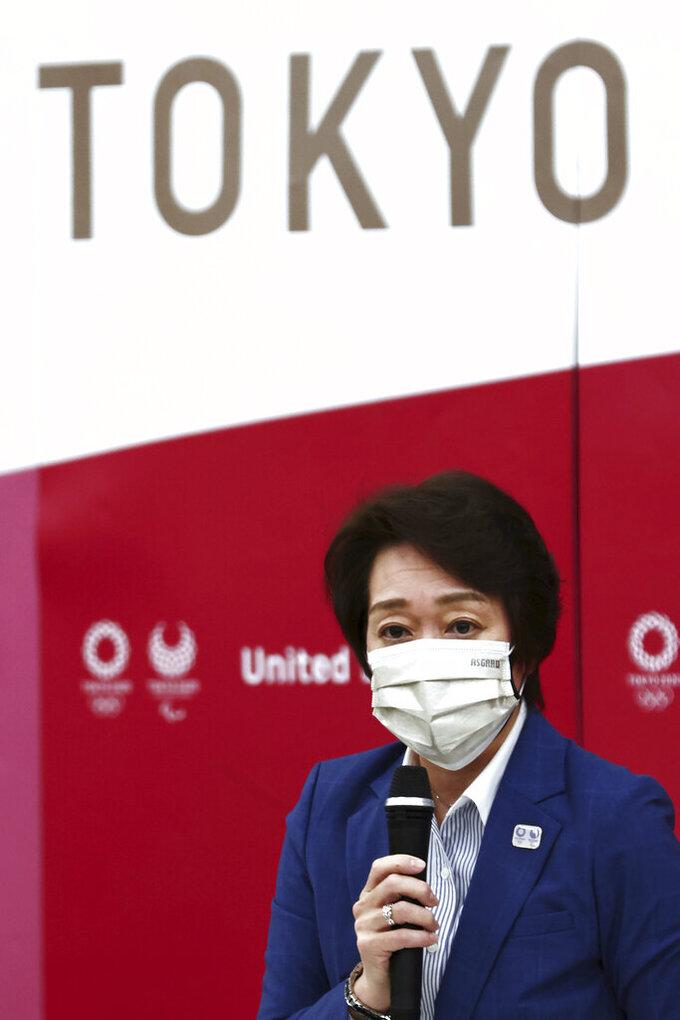 Tokyo 2020 President Seiko Hashimoto speaks during the Tokyo 2020 Olympic Games executive board meeting in Tokyo, Tuesday, June 8, 2021. (Behrouz Mehri/Pool Photo via AP)