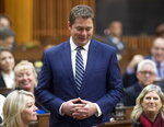 Leader of the Opposition Andrew Scheer announces he will step down as leader of the Conservatives, Thursday December 12, 2019 in the House of Commons in Ottawa. (Adrian Wyld/The Canadian Press via AP)