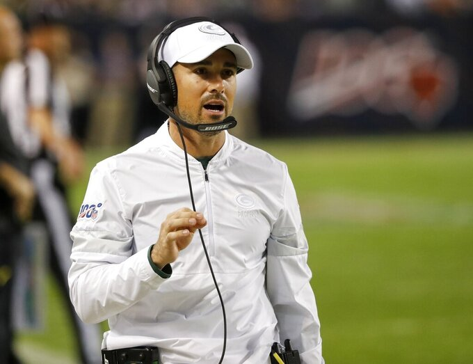 Green Bay Packers head coach Matt LaFleur reacts during the first half of an NFL football game against the Chicago Bears Thursday, Sept. 5, 2019, in Chicago. (AP Photo/Charles Rex Arbogast)
