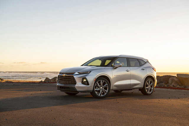 This photo provided by Chevrolet shows the 2020 Chevrolet Blazer, an example of a vehicle that is priced high enough on the used market that it makes sense to take a hard look at the new model. (Jessica Lynn Walker/Courtesy of Chevrolet via AP)