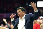 Arizona head coach Sean Miller reacts during the first half of an NCAA college basketball game against Colorado, Saturday, Jan. 18, 2020, in Tucson, Ariz. (AP Photo/Rick Scuteri)