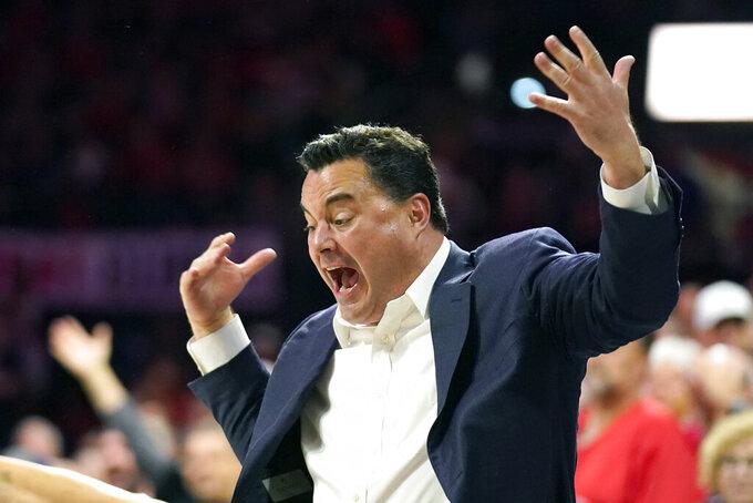 Arizona head coach Sean Miller reacts during the first half of an NCAA college basketball game against Colorado, Saturday, Jan. 18, 2020, in Tucson, Ariz. (AP Photo/Rick Scuteri)