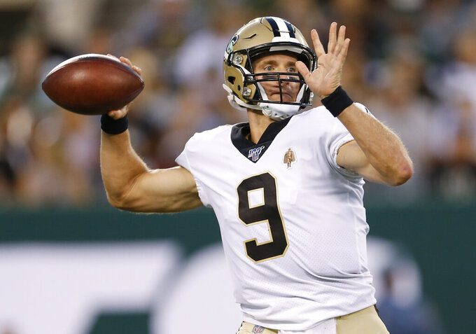New Orleans Saints quarterback Drew Brees throws a pass during the first half of the team's preseason NFL football game against the New York Jets on Saturday, Aug. 24, 2019, in East Rutherford, N.J. (AP Photo/Adam Hunger)