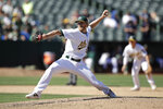 Oakland Athletics pitcher Jake Diekman works against the Los Angeles Angels in the ninth inning of a baseball game Thursday, Sept. 5, 2019, in Oakland, Calif. (AP Photo/Ben Margot)