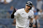 New York Yankees' Gary Sanchez reacts after hitting a walkoff single against the Minnesota Twins during the 10th inning of a baseball game on Monday, Sept. 13, 2021, in New York. (AP Photo/Adam Hunger)