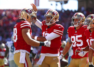 Garrett Celek, Jimmy Garoppolo, George Kittle