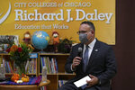 Secretary of Education Miguel Cardona speaks during a Charla along with first lady Jill Biden at the Arturo Velasquez Institute Wednesday, Oct. 13, 2021, in Chicago. (AP Photo/Paul Beaty)