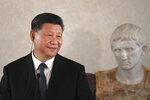 """Chinese President Xi Jinping addresses a business forum inside the Quirinale Presidential palace where he met with Italian President Sergio Mattarella, in Rome, Friday, March 22, 2019. Mattarella  told visiting President Jinping on Friday that China's new """"Silk Road"""" linking Europe and Asia must be a """"two-way street,"""" addressing concerns among Western allies that the colossal infrastructure project is meant merely to amplify Beijing's influence in the region.  (Tiziana Fabi/Pool Photo via AP)"""
