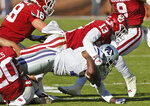 Kansas State wide receiver Isaiah Zuber, right, is tackled by Oklahoma cornerback Tre Norwood (13) in the first half of an NCAA college football game in Norman, Okla., Saturday, Oct. 27, 2018. (AP Photo/Sue Ogrocki)