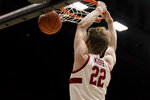 Stanford forward James Keefe (22) dunks against Washington State during the first half of an NCAA college basketball game Saturday, Jan. 11, 2020, in Stanford, Calif. (AP Photo/John Hefti)