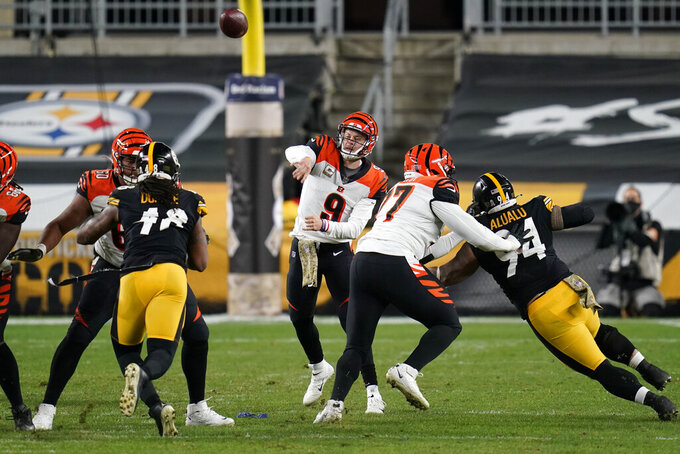Cincinnati Bengals quarterback Joe Burrow (9) throws a pass during the second half of an NFL football game against the Pittsburgh Steelers, Sunday, Nov. 15, 2020, in Pittsburgh. (AP Photo/Keith Srakocic)