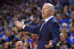 UCLA coach Mick Cronin gestures during the second half of the team's NCAA college basketball game against Southern California on Saturday, Jan. 11, 2020, in Los Angeles. USC won 74-63. (AP Photo/Mark J. Terrill)